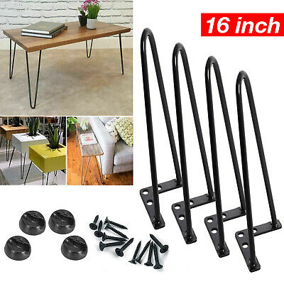 4x 16'' Black Hairpin Legs Set For Furniture Coffee Cabinet Table Steel Painted • 10£