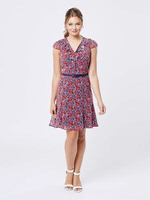 AU80 • Buy Review Size 16 Ladies Floral Dress Blue And Red