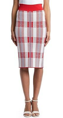 AU45 • Buy Scanlan Theodore Crepe Knit Pencil Skirt Red Check Small (S)