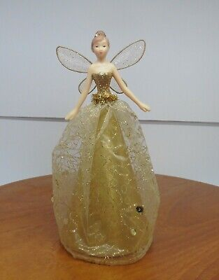 Beautiful Fairy In Gold Netting Dress Christmas Tree Topper • 3.99£