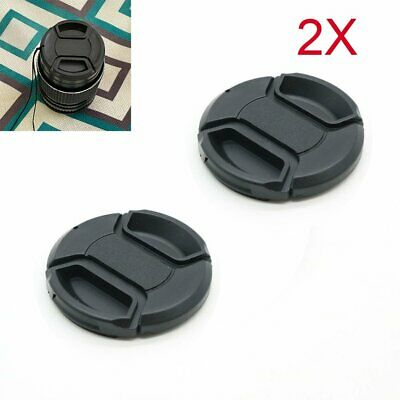 AU3.85 • Buy 2PCS 37mm Lens Cap Center Pinch Snap On Front Cover String For Canon Nikon Sony