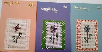 £3.60 • Buy Birthday Cards Pack Of 3 Completed Cross Stitch Daisys 6x4  B6