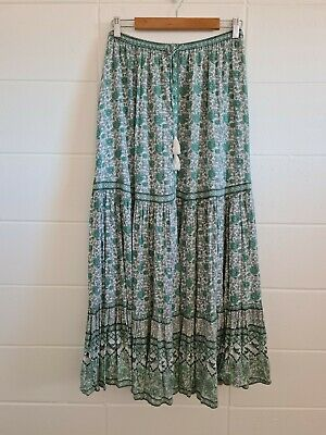 AU190 • Buy SPELL Sage Kombi Maxi Skirt Sz Medium