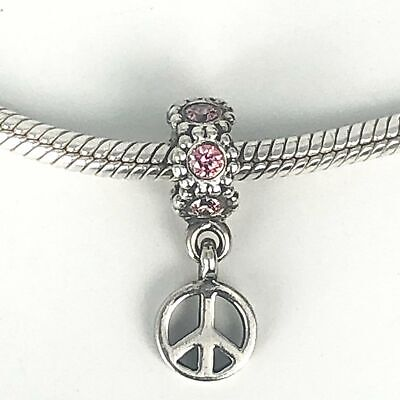 PANDORA Peace Sign Pink Cubic Zirconia Sterling Silver Dangle Charm • 35.46£