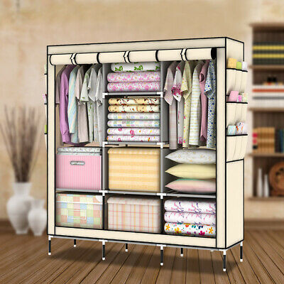 £20.39 • Buy Triple Fabric Canvas Wardrobe Large Clothes Storage With Hanging Rail Portable