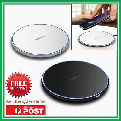 AU12.95 • Buy Qi Wireless Charger FAST Charging Pad For IPhone 12 11 X XS 8 8+ Samsung WH/BK
