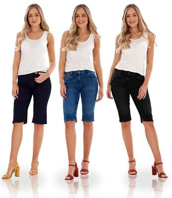 £12.99 • Buy Ladies Mid Rise Denim Cotton Stretch Slim Fit Shorts- Petite Tall Fit Available