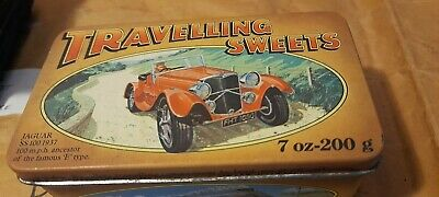 VINTAGE TRAVEL SWEET TIN - Picture Of Jaguar SS 100 On Lid • 10£