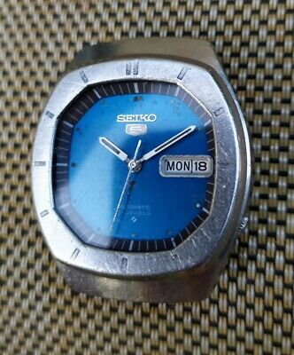 $ CDN84.70 • Buy Vintage TV Case Seiko 5 6319-5070 Automatic 21j Blue Dial Watch Runs Works Parts