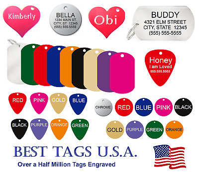 $4.39 • Buy Custom Engraved Personalized Pet Tag Id Dog Cat Name Tags >>buy 3 Get 1 Free!