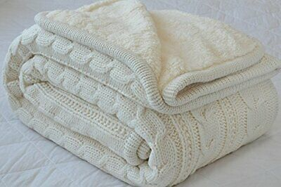 £36.48 • Buy Classic All Season Soft Cable Sweater Knitting Throw Blanket Quilted Throws W...