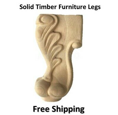 AU60 • Buy 4 Wooden Furniture Legs Carved Classic Feet Lounge Couch Sofa Cabinet Table Raw