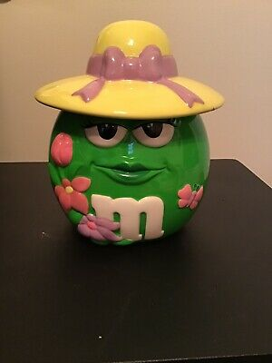 $24.99 • Buy M&M's Green Lady With Hat And Flowers Ceramic Candy Cookie Jar 2006 - Sealed