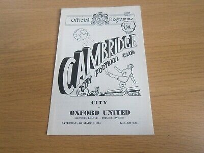 £0.50 • Buy 04/03/1961  CAMBRIDGE CITY V OXFORD UNITED - Southern League