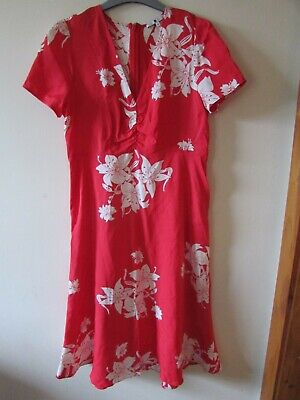 AU3.61 • Buy Ladies Pretty Red/white Floral Dress From Alexa Chung For M&S Size 10