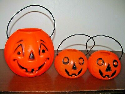 $ CDN30.22 • Buy Vintage Halloween Blow Mold Trick Or Treat Pumpkins~lot Of 3~small Sizes 3  & 5