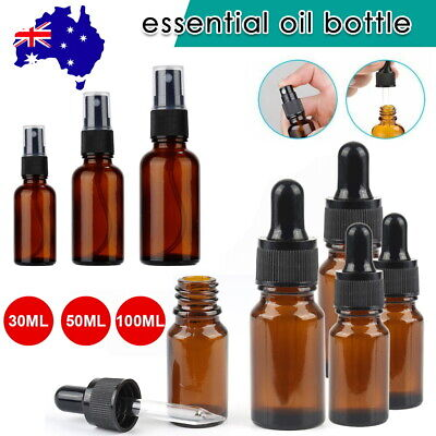 AU13 • Buy 5-50X Amber Glass Essential Oil Dropper Mist Sprayer Bottles Containers 30-100ML