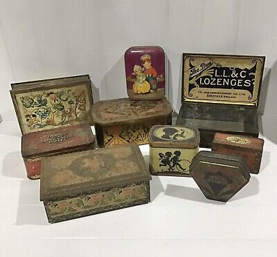 Collection Of 9 Vintage Toffee, Sweet Or Biscuit Tins • 2.50£
