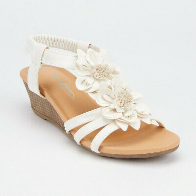 £10.95 • Buy Ladies Flower Strappy Sandals Womens Summer Faux Leather Mid Wedge Beach Shoes