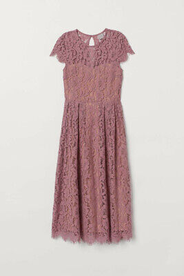 £5.50 • Buy H&M Calf Length Summer Lace Dress Old Rose WORN ONCE Sz 6/8 Excellent Condition