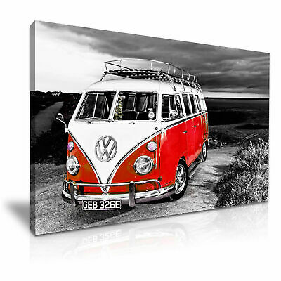 £20 • Buy Red VW Camper Van Vintage Campervan Canvas 20x30 Wall Art Picture