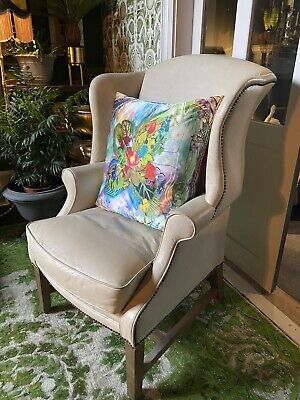 £445 • Buy Cream Leather Wing Back Chairs Pair