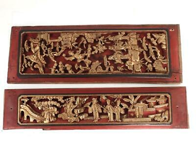 £99.99 • Buy Two Antique Chinese Carved Wood Panel With Figures Pagoda Landscape