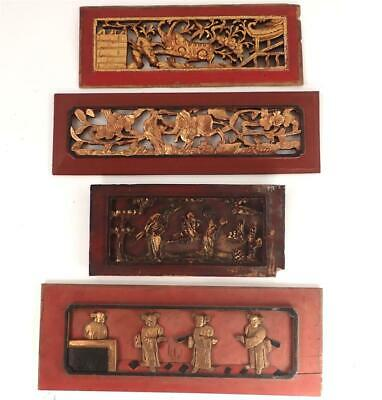 £84.99 • Buy FOUR ANTIQUE CHINESE CARVED WOOD RELIEF PANELS A