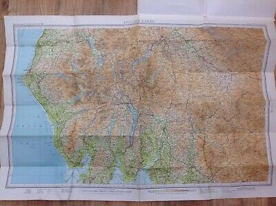 Bartholomew Vintage Contoured Cloth Map - English Lakes - Keswick, 1965 • 4£