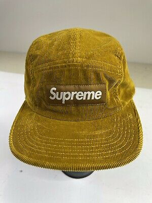 AU38.12 • Buy Supreme Corduroy Camp Cap Hat 5 Panel Leather Strapback Made In USA Khaki Brown