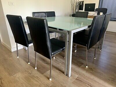 AU200 • Buy 8 Seater Square Glass Dining Table And Black Chairs