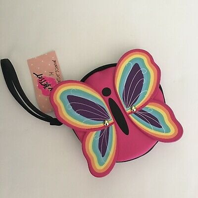 $15.99 • Buy NEW LUV Betsey Johnson Pink Rainbow Butterfly Coin Purse Wristlet