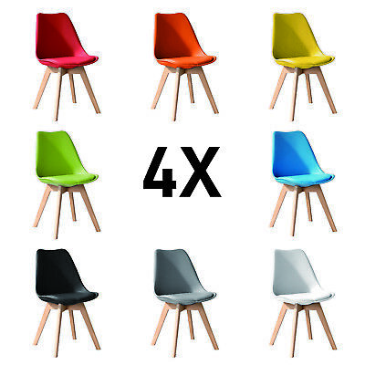 £134.96 • Buy 4X - X4 Jamie Dining Chair, Eiffel Inspired, Solid Wood ABS Plastic Soft Padded