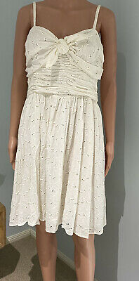 AU15.99 • Buy Forever New Womens Size 16 Embroidered White Broderie Anglaise Cotton Dress