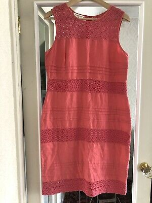 £14 • Buy Monsoon Linen Coral Peach Pink Embroidered Smart Dress Size 12