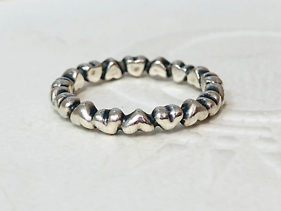 AU35 • Buy Authentic Pandora Silver Chain Of Hearts Stackable Ring Size 50 190837 Retired