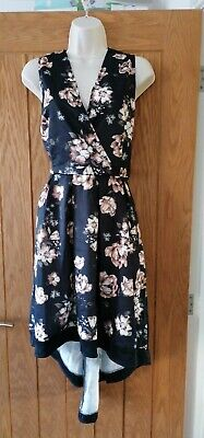 £23.99 • Buy Mela London Black Flower High Low Dress Size 16 New With Tags