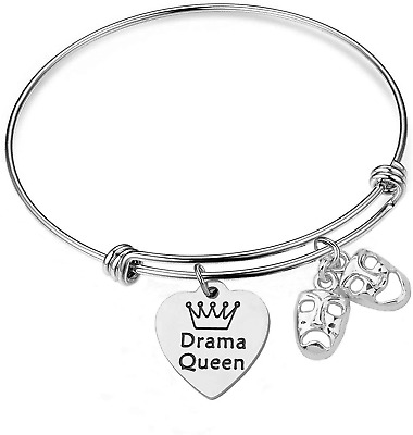 £20.01 • Buy Drama Queen Bracelet Theater Comedy Tragedy Masks Charm Bracelet Gift For Lovers