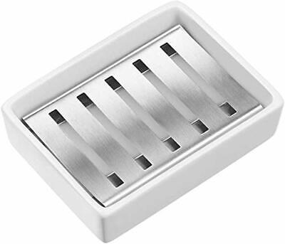 £11.45 • Buy SANNO Ceramic Soap Dish Holder Ceramic Soap Tray With Stainless Steel Soap For