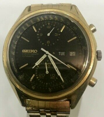 $ CDN228.54 • Buy Seiko 6138 Panda Gold Case Black Dial 0850 Chronograph Automatic Watch Vintage