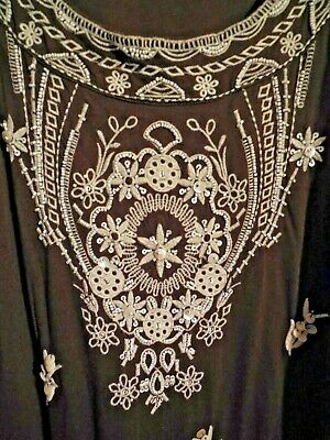 $ CDN9.61 • Buy Charter Club ~ Brown Sleeveless Dress With Lots Of Beaded Detail ~ Large