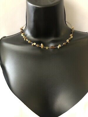 $ CDN9.67 • Buy Lia Sophia Wire Strand Beaded Necklace Brown Tan Glass And Stone Beads.
