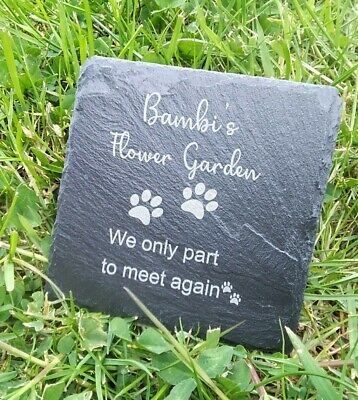 £4.99 • Buy Personalised Pet Memorial Plaque For Pet Cat Dog Grave Stone Slate Marker Gift