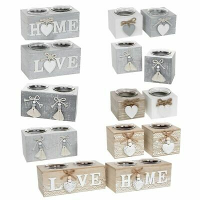 £10.99 • Buy Tea Light Holder Provence Wooden Tealight Candles Shabby Chic Gift Home Grey