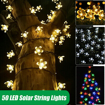 £8.89 • Buy 50LED Solar Powered Flower String Fairy Lights Outdoor Garden Party Wedding Home
