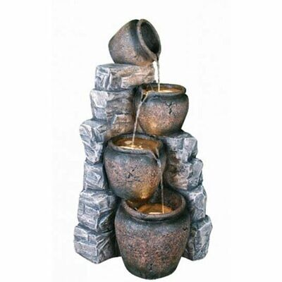 £299 • Buy 4 Pots On Blue Slate Garden Water Feature With LEDS Lights