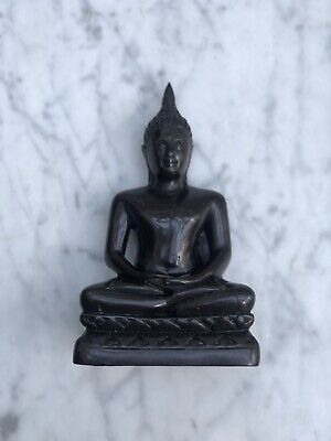 THAI BUDDHA MEDITATING Sitting Ornament Figure Statue Figurine Black & Silver • 20£
