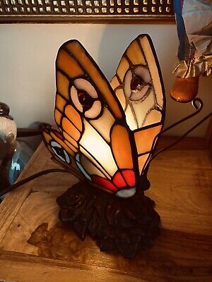 £39.99 • Buy Tiffany Style Butterfly Hand Made Glass Table Lamp - VGC