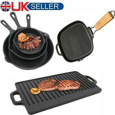£14.55 • Buy Cast Iron Non-Stick Frying Enamel Pan Grill BBQ Skillet Reversible Griddle Plate
