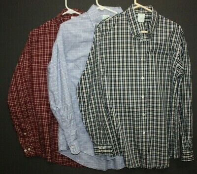 $30 • Buy Lot Of 3 Brooks Brothers 1818 Milano Mens L & 16.5 35 Supima Button Up L/S Shirt